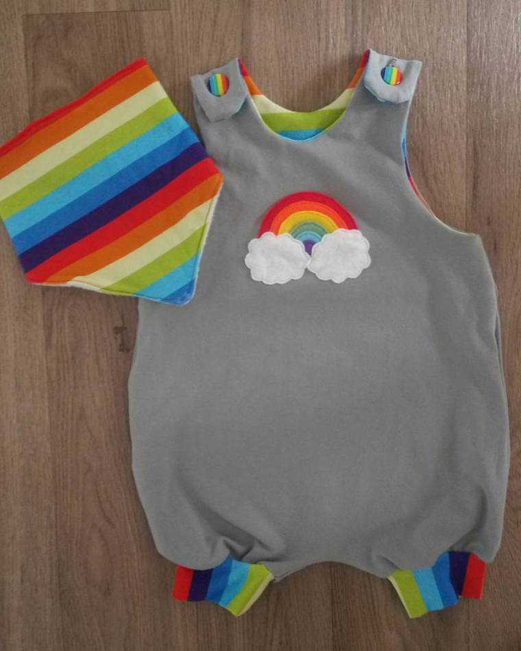 Rainbow baby romper and bib
